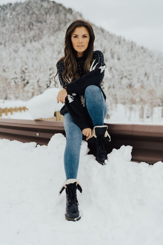 Wildfox fringe sweater and Dr. Marten's Aimilita Leather Boot