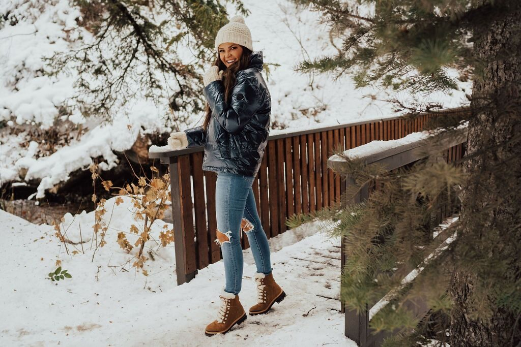 Bernardo Metallic Puffer Coat and Marc Fisher Izzie Boots