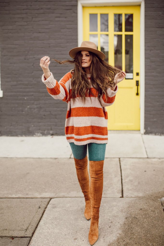 Goodnight Macaroon Cicely striped sweater and monroe gigi pip hat