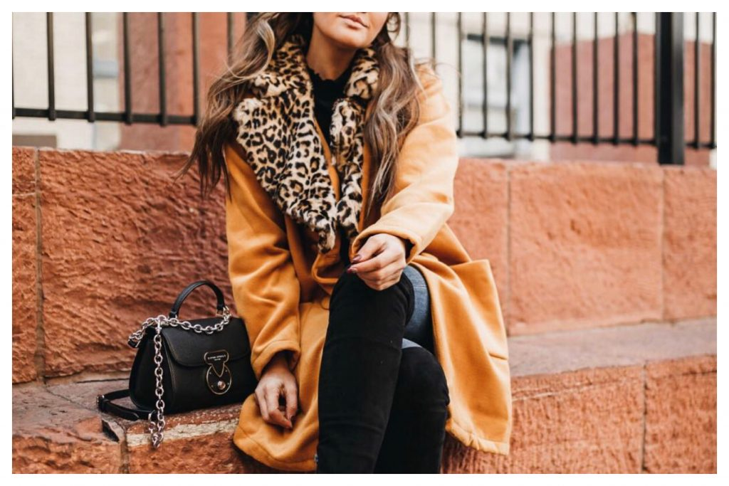 Shein Yellow and leopard print coat b9d9bbebed342