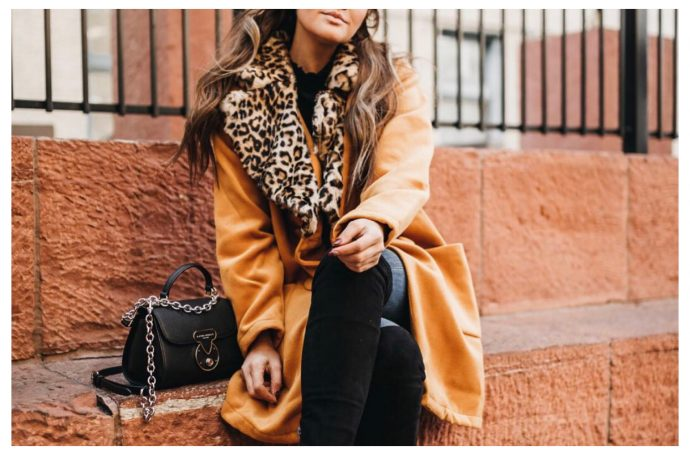 Shein Yellow and leopard print coat, Henri bendel crossbody bag