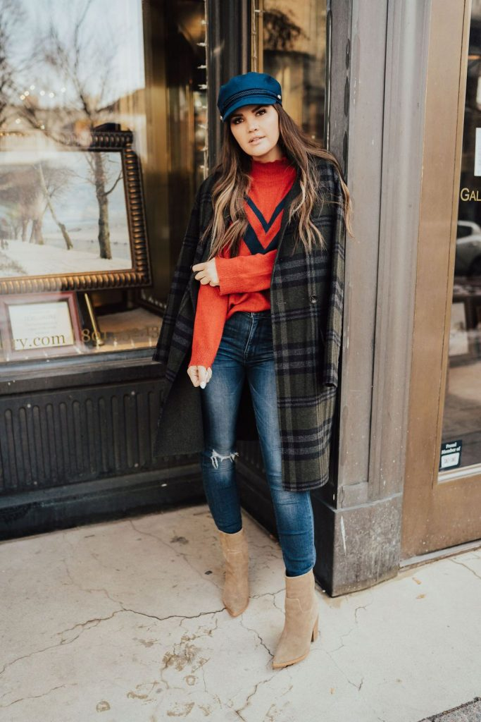 bernardo plaid coat and navy newsboy hat