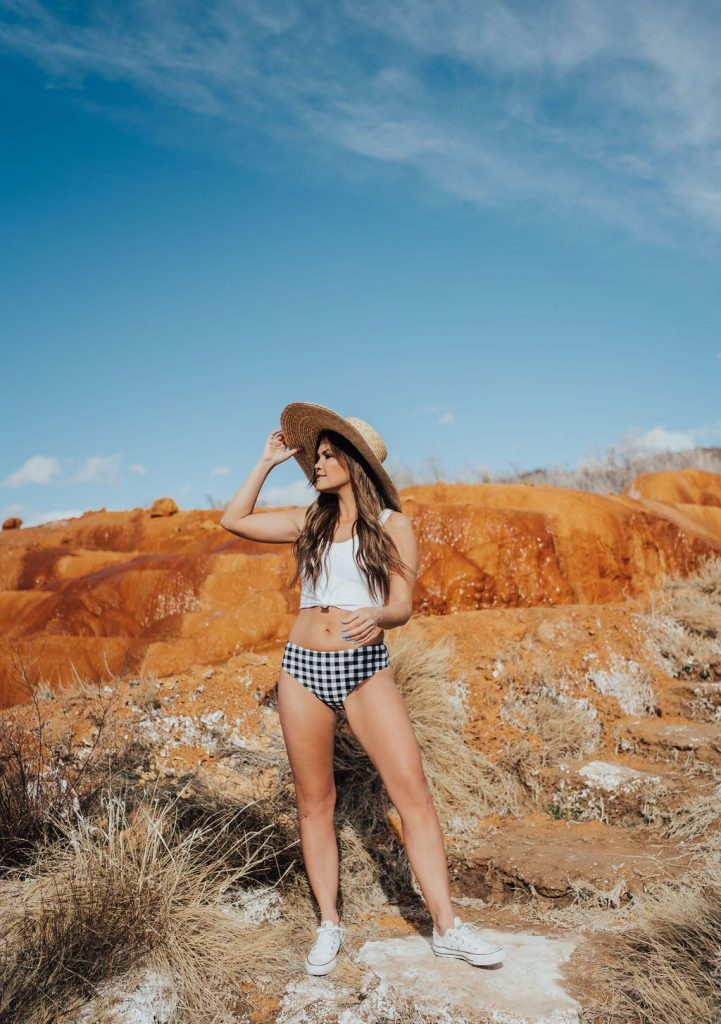 Coral Reef Swim Black and White Gingham two piece swimsuit