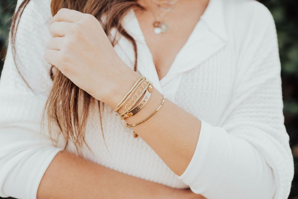 Honey Ice Co coin layering love bracelets