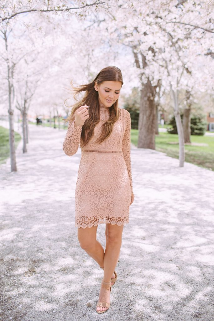 Chicwish Crochet pink dress, T3 curling iron