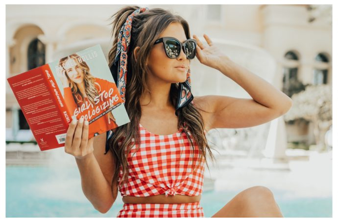 Coral Reef Swim Red Gingham Swimsuit and black Quay Australia sunglasses