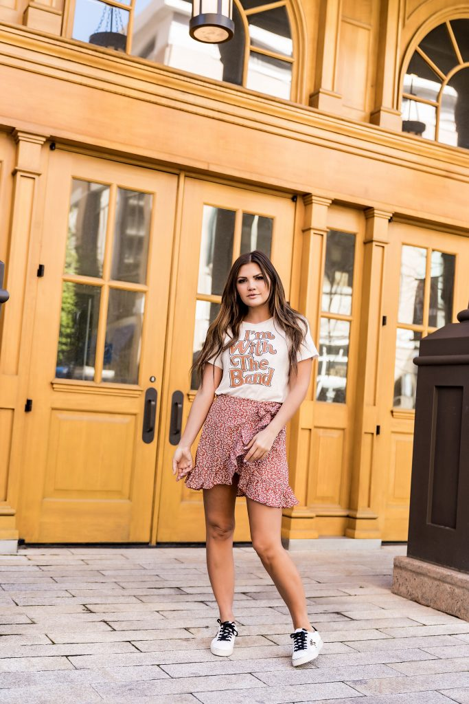 'm with the band graphic tee and floral skirt, golden goose dupe sneakers