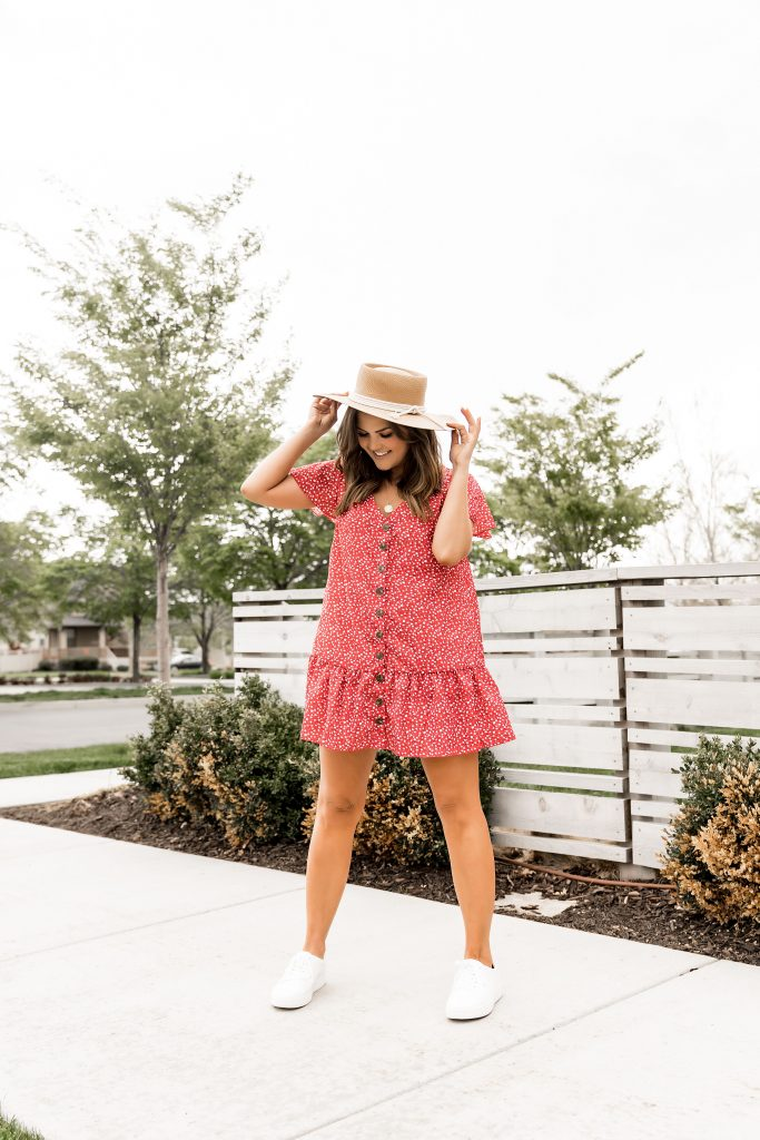 Shein Ditsy Floral Dress and Fit Flop Rally Sneakers; Gigi Pip Bre hat